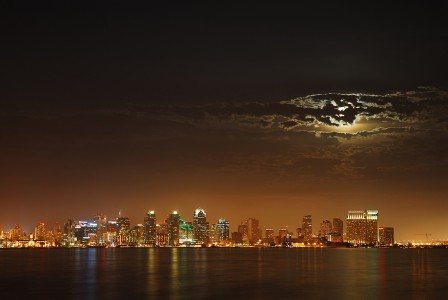 Moon occluded by clouds over San Diego
