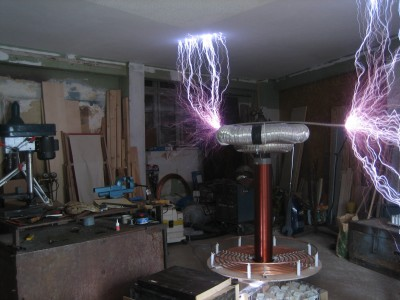 Spark from 4KVA Tesla Coil