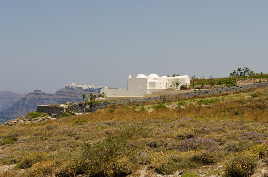 Building at the crater rim near Athinios port - Santorini - Greece