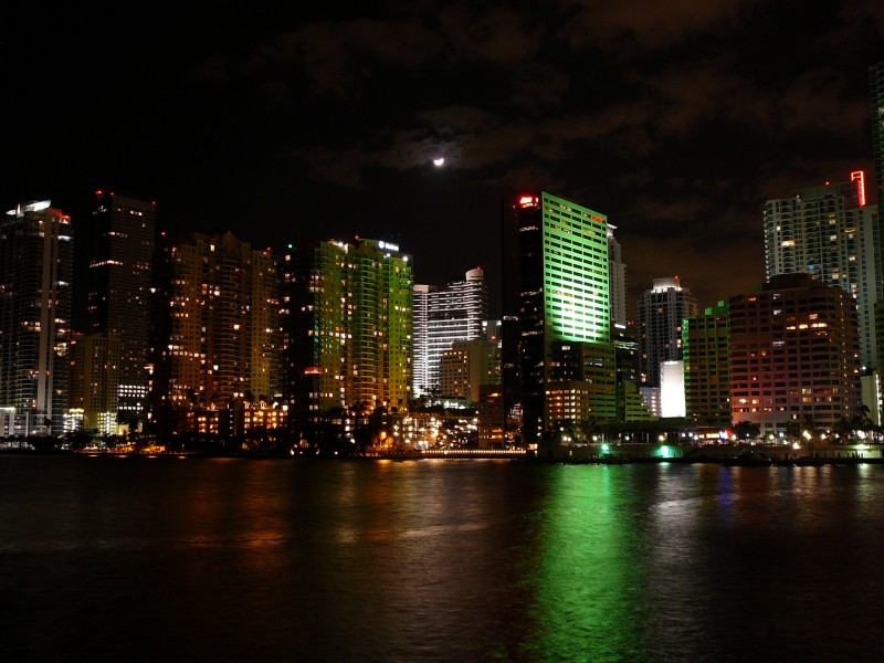 Northern Brickell skyline at night 20081203