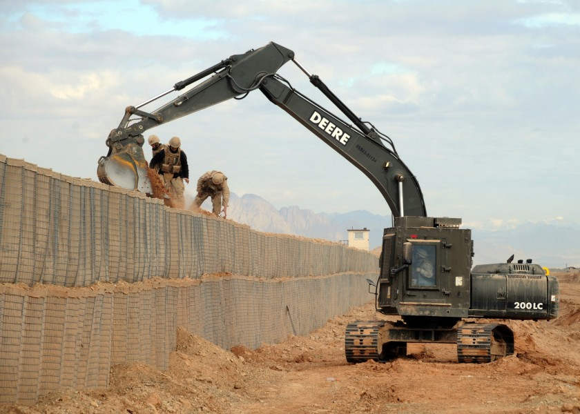 Up-armored excavator in Afghanistan
