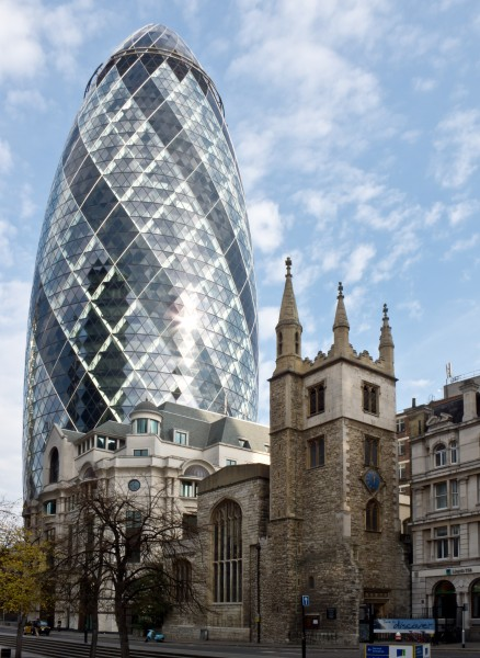 30 St Mary Axe (Swiss Re Building) and St Andrew Undershaft church