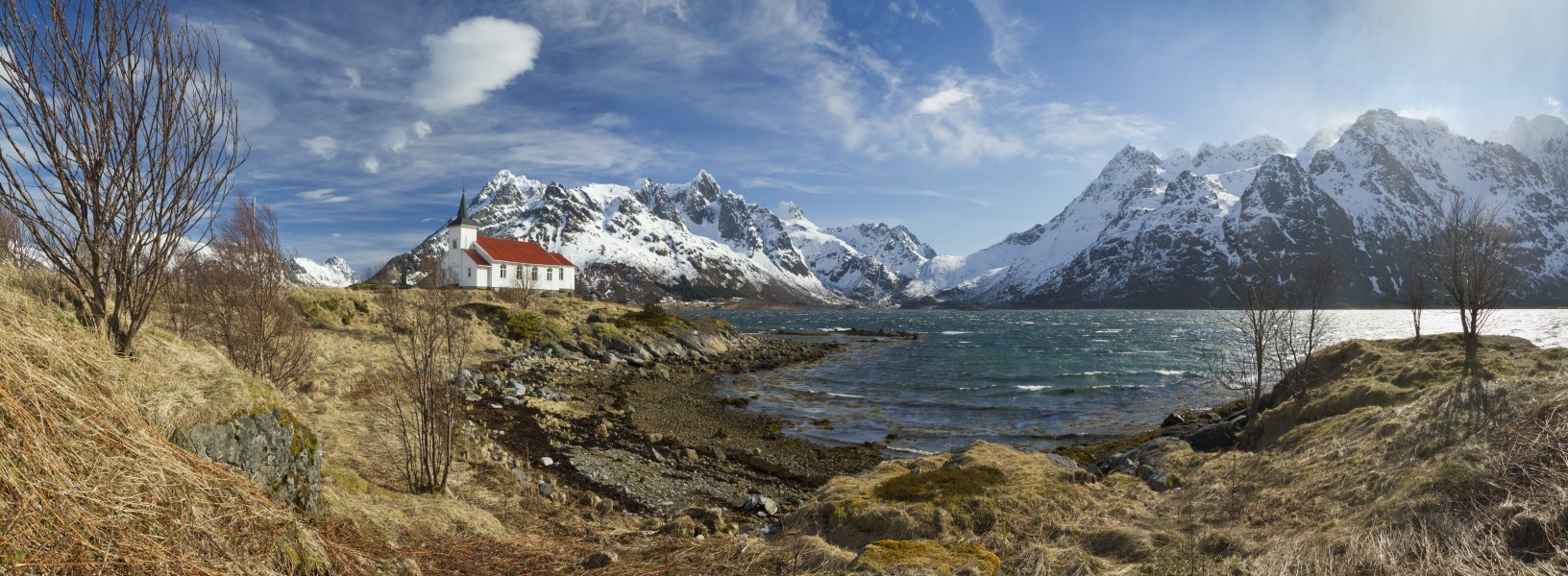 A View to Austnesfjorden at Sildpollnes Church, Austvågøya, Lofoten, Norway, 2015 April