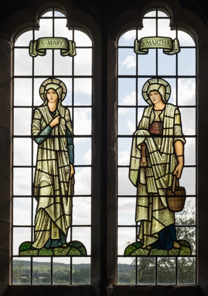 All Saints church, Preston Bagot - Mary and Martha stained glass windows 2016