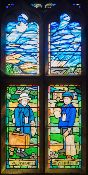 All Saints church, Sudbury - evacuees' gratitude stained glass window by Michael Stokes