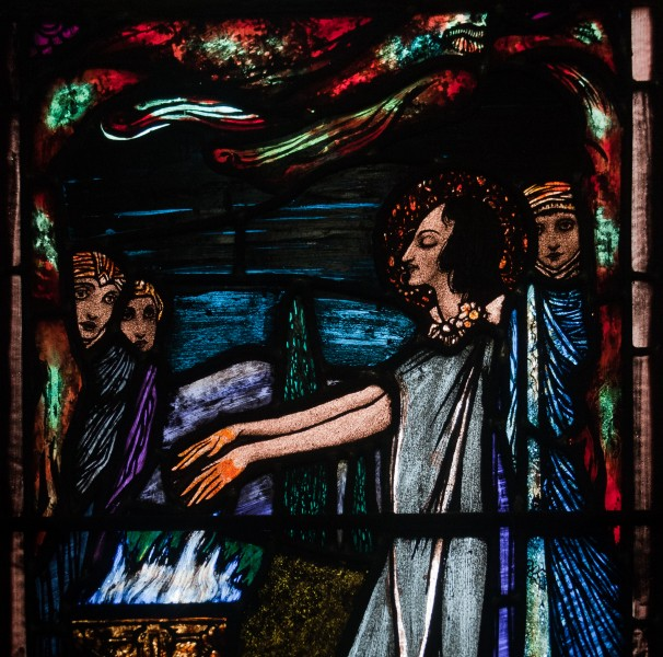Ballinasloe St. Michael's Church South Aisle Fifth Window Sts Patrick and Rose of Lima by Harry Clarke Detail St Rose Burning Her Hands Detail 2010 09 15