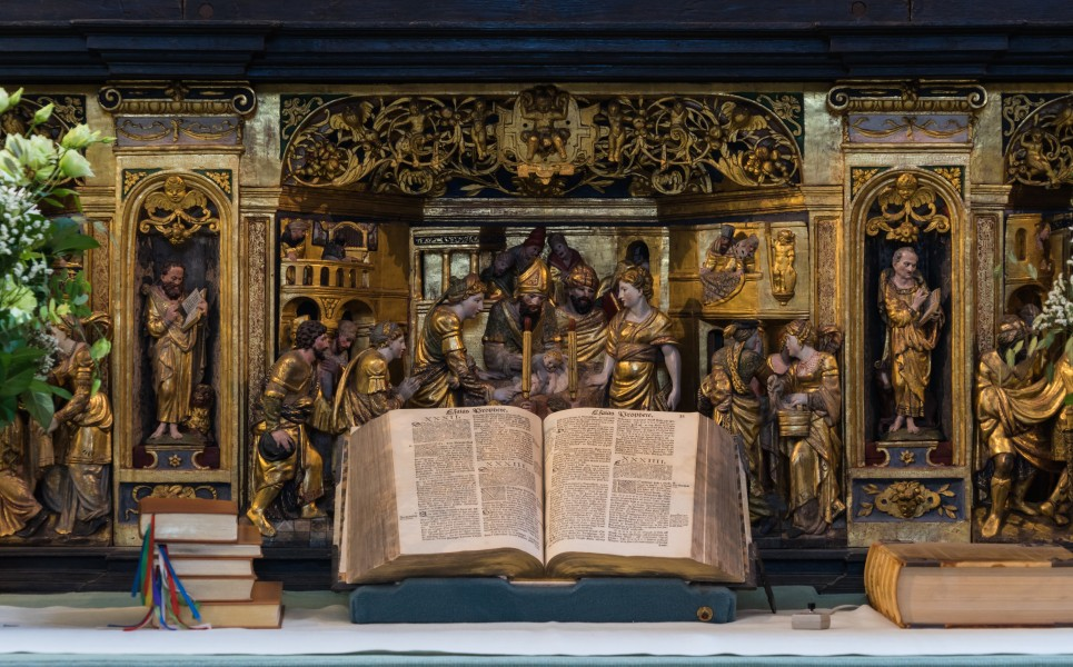 Bible main altar Roskilde cathedral Denmark