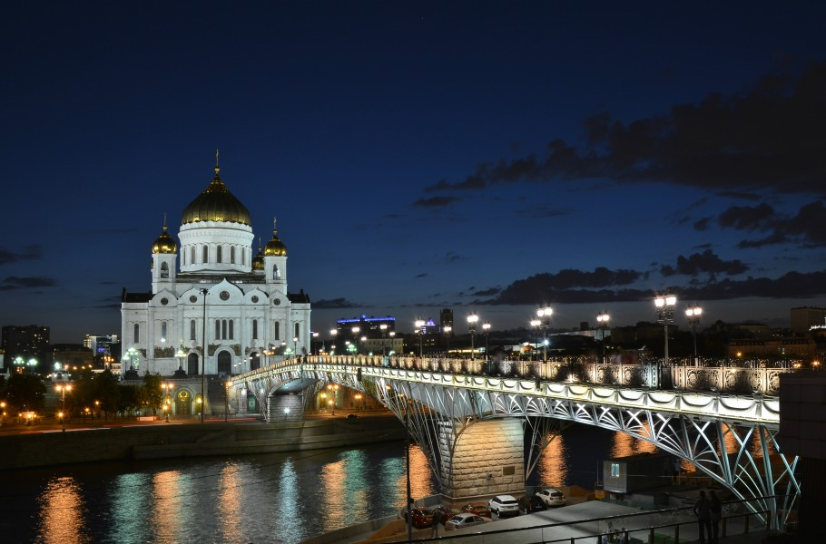 Cathedral of Christ the Saviour and Patriarshy bridge at night 03