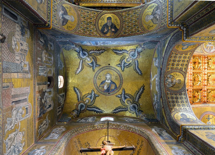 Ceiling of left chapel in Cathedral (Monreale) - Mosaic of Christ Pantocrator,large view
