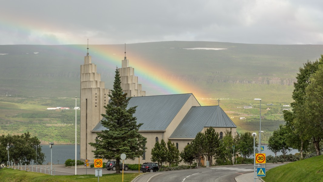 Church and rainbow in Akureyri