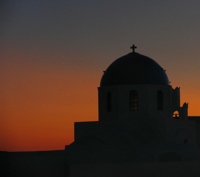 Church dome sunset - Oia, Greece 1