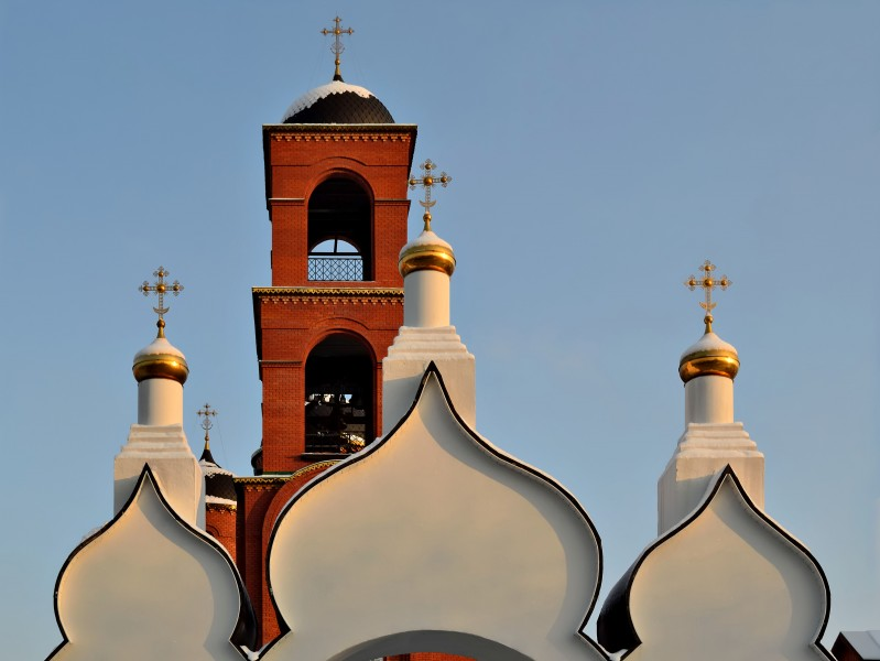 Church of Holy Trinity in Korolyov (fragment of gate and bell tower)