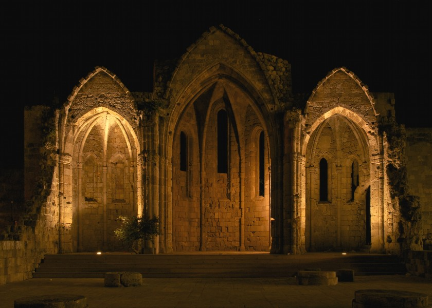 Church of the virgin of the burgh Rhodes 14th century night
