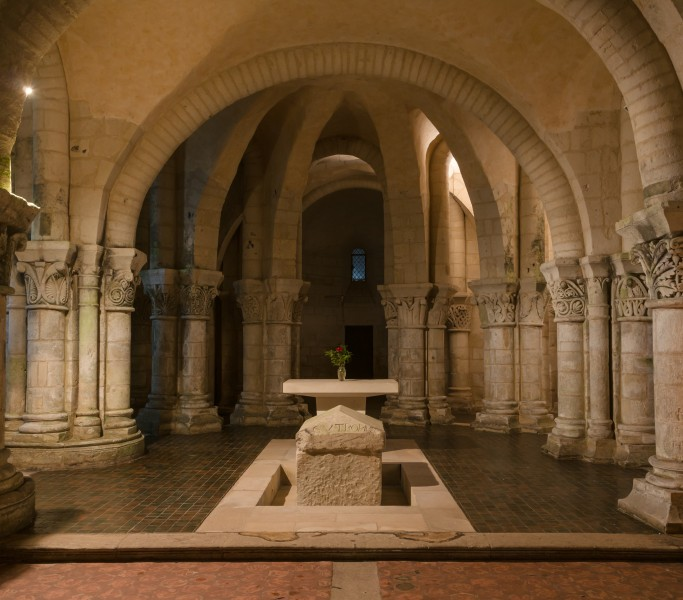 Close-up choir crypt basilica Saint-Eutropius Saintes Charente-Maritime