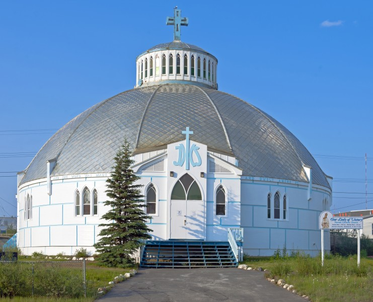 Front view of Our Lady of Victory Church, Inuvik, NT