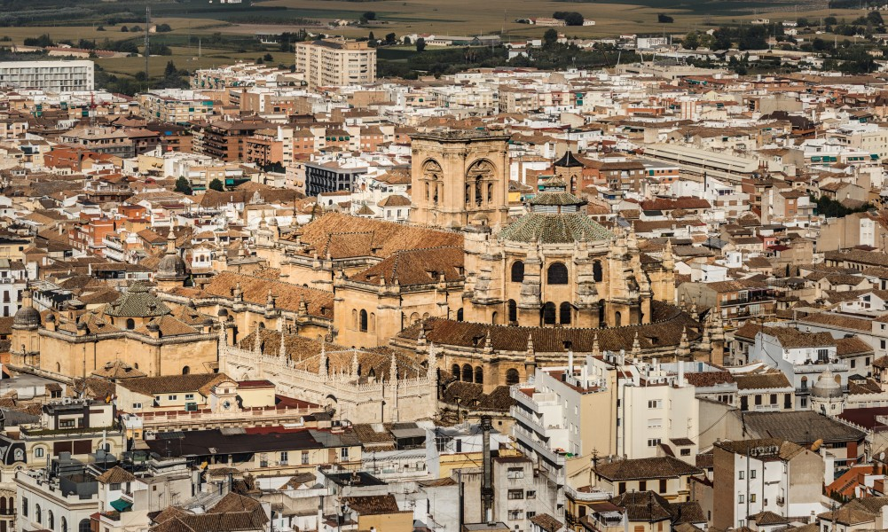 Granada Cathedral as seen from Alhambra 2014-08-06