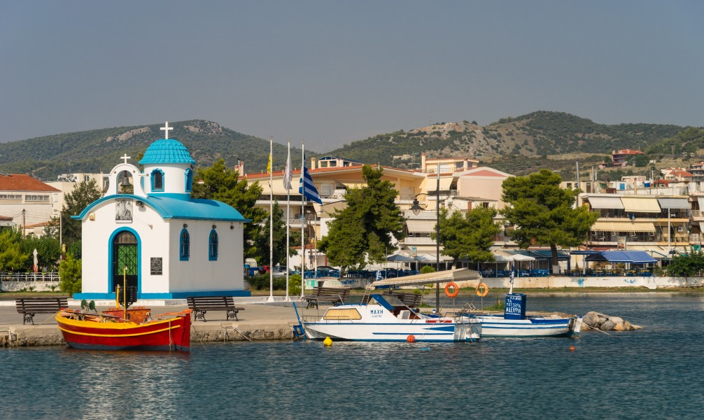 Harbour chapel, red boat, Nea Artaki, Evia Greece