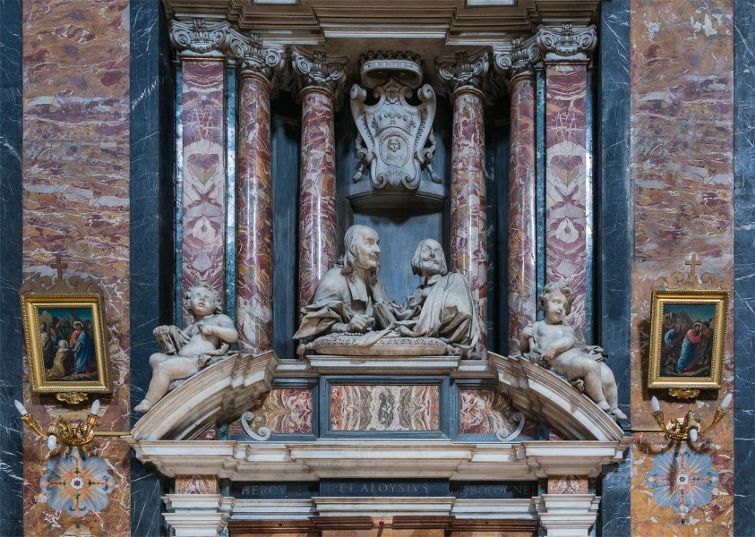 Hercules and Aloysius Bolognetti, inside of church Gesù e Maria, by C.Rainaldi, Rome, Italy