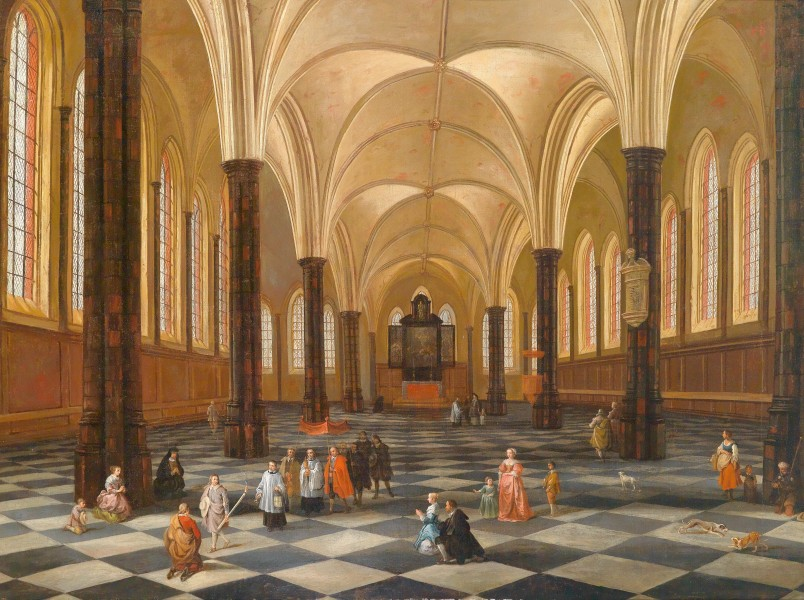 Interior of a Catholic church 17th century