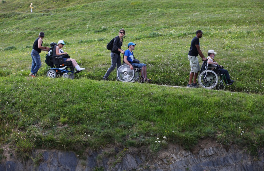 people on wheelchairs in the La Salette sanctuary, France, Europe, August 2013, picture 6