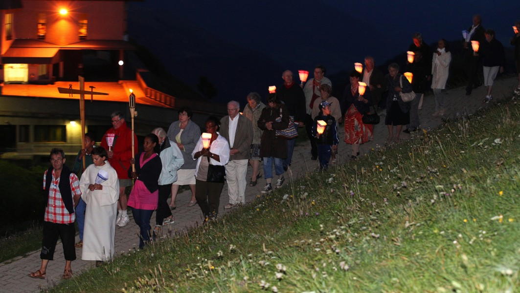 the procession with candles in the La Salette sanctuary, France, Europe, August 2013, picture 33
