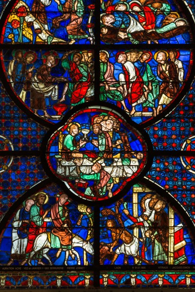 Laon Cathedral Stained Glass Window Central Aisle 02