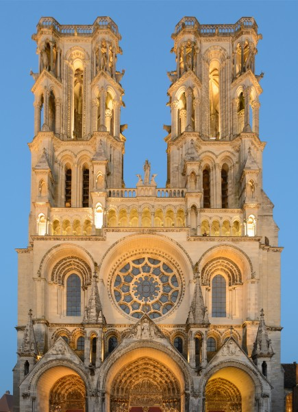 Laon Cathedral West Facade Blue Hour 01