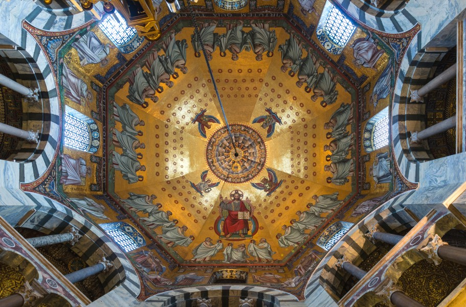 Main mosaic ceiling, Aachen Cathedral, Germany