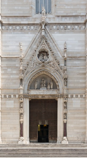 Main portal of the cathedral, Naples, Italy