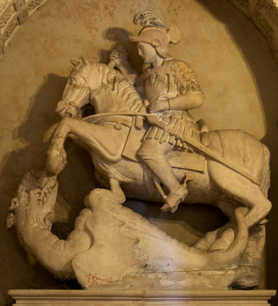 Medieval statue of St. George in the Church Madonna della Greca in Locorotondo
