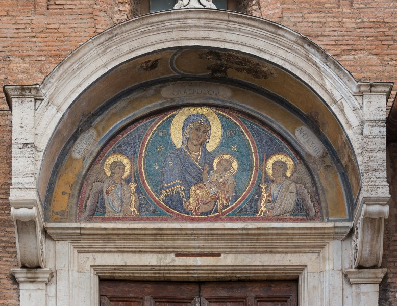 Mosaic Madonna and Child pediment side entrance Church Santa Maria in Aracoeli, Rome, Italy
