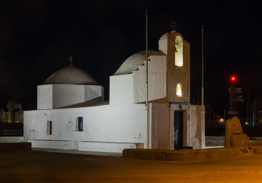 Night view chapel harbour Aegina Greece