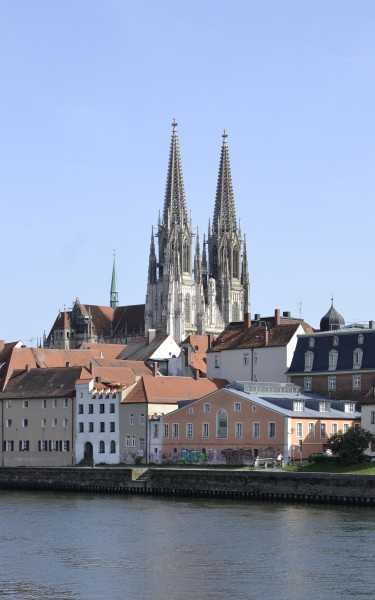 Old town with the Cathedral of Regensburg