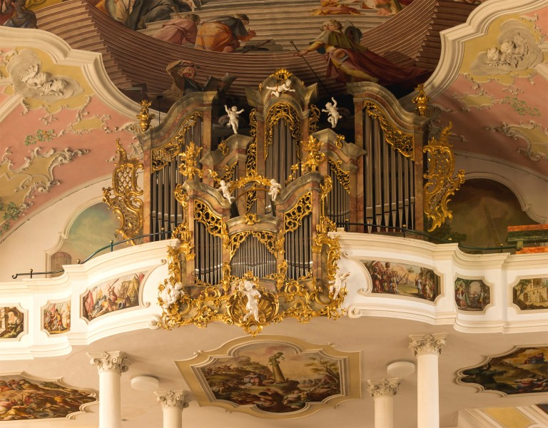 Organ, Saint Peter and Paul church, Oberammergau, Bavaria, Germany