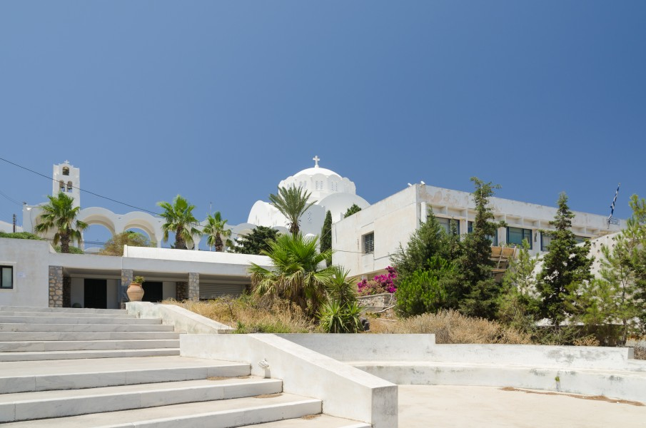 Prehistoric museum and Ypapanti cathedral - Fira - Santorini - Greece - 01