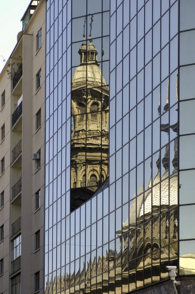 Reflection of the Metropolitan Cathedral (Santiago, Chile)