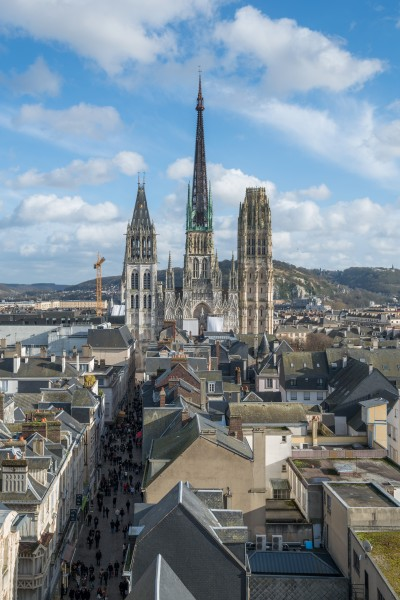 Rouen Cathedral and Rue de Gros Horloge as seen from Gros Horloge 140215 2