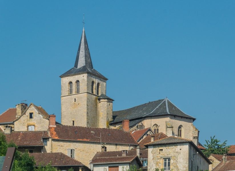 Saint-Andeol Church towering over town of Parisot