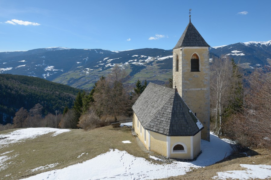 Saint John the Baptist church in Freins from above