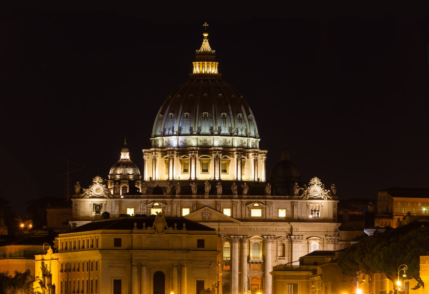 Saint Peter's basilica, night, from Umberto I bridge, Rome, Italy