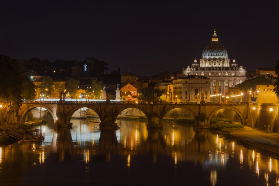 Saint Peter's Basilica, Sant'Angelo bridge, by night, Rome, Italy