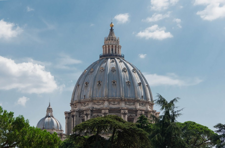 Saint Peter's Basilica Dome from Square Garden Vatican 14