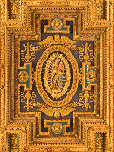 Santa Maria in ara Coeli ceiling detail madonna and child, Capitole, Rome, Italy