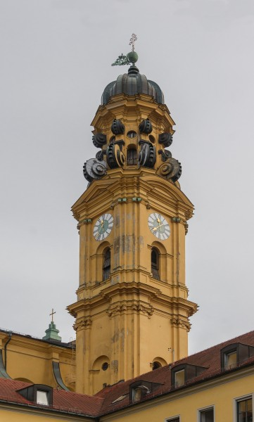 South bell tower Theatinekirche from courtyard Munich