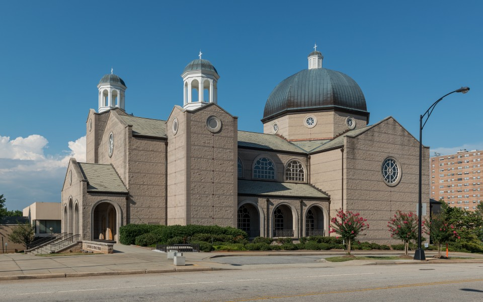 St. George Greek Orthodox Cathedral, Greenville SC, Southwest view 20160701 1