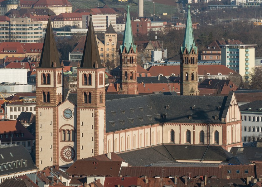 St. Killian, Würzburger Dom, as seen from Festung Marienburg 20140112 2