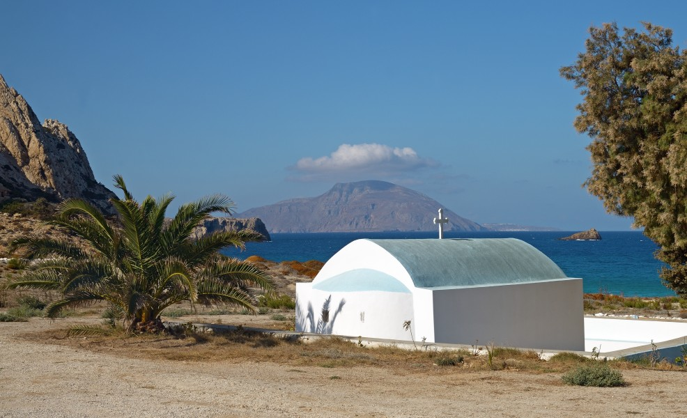 St. Nicholas Church at Agios Nikolaos Beach, Arkasa. Karpathos, Greece. Noon