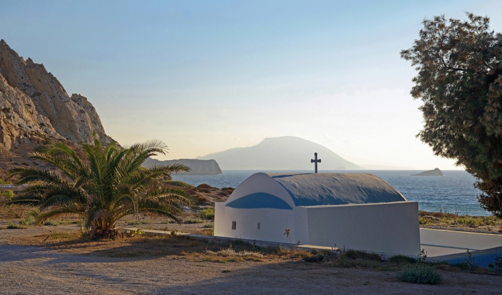 St. Nicholas Church at Agios Nikolaos Beach, Arkasa. Karpathos, Greece. Sunset