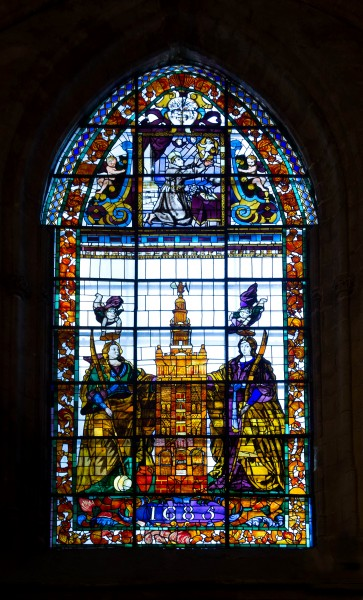 Stained glass window cathedral Seville 1685