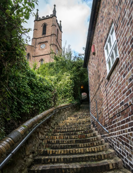 Stairs leading up to the Church of St Luke, Ironbridge